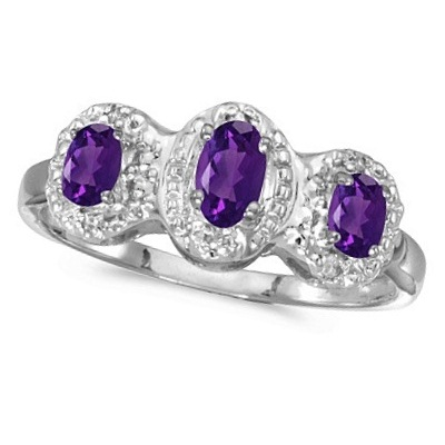 0.53tcw Oval Amethyst and Diamond Three Stone Ring 14k White Gold