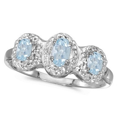 0.50tcw Oval Aquamarine and Diamond Three Stone Ring 14k White Gold