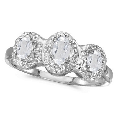 Oval White Topaz & Diamond Three Stone Ring 14k White Gold (0.76ctw)