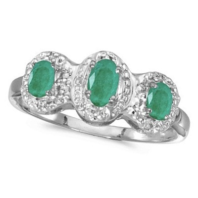 0.65tcw Oval Emerald and Diamond Three Stone Ring 14k White Gold