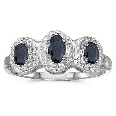 0.65tcw Oval Blue Sapphire and Diamond Three Stone Ring 14k White Gold