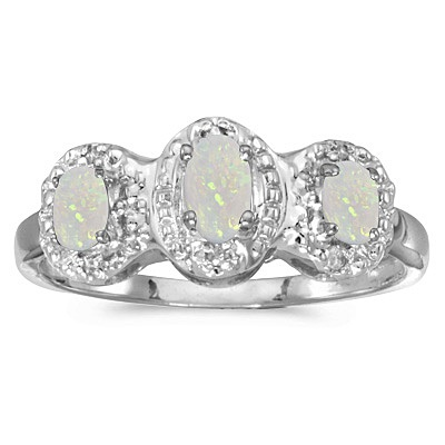 0.65tcw Oval Opal and Diamond Three Stone Ring 14k White Gold