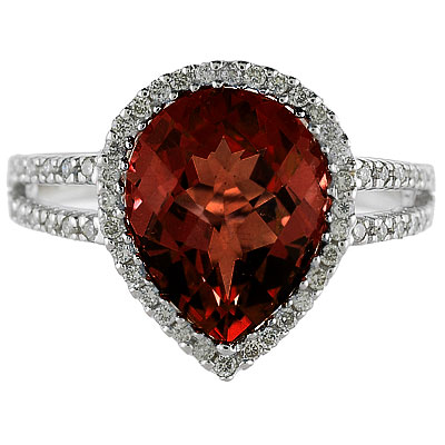 Pear Shaped Garnet and Diamond Cocktail Ring 14k White Gold