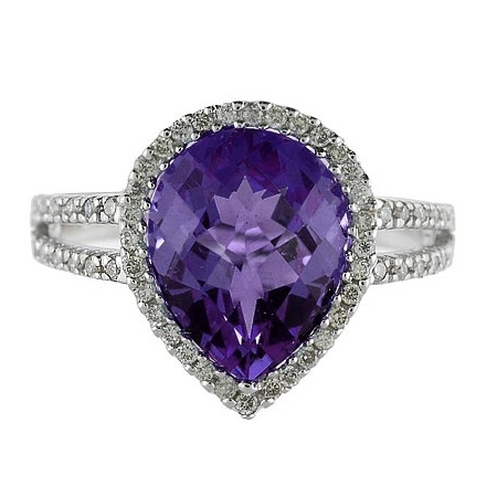Pear Shaped Amethyst and Diamond Cocktail Ring 14k White Gold