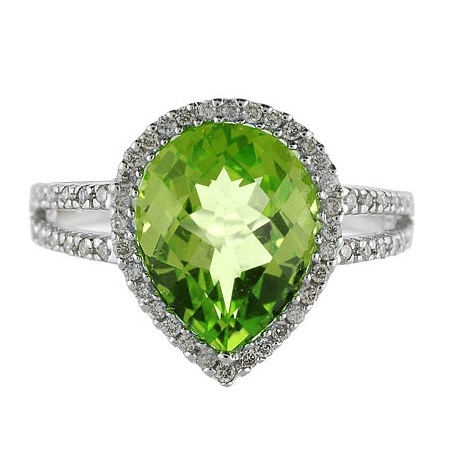 Pear Shaped Peridot and Diamond Cocktail Ring 14k White Gold