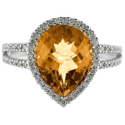 Pear Shaped Citrine and Diamond Cocktail Ring 14k White Gold