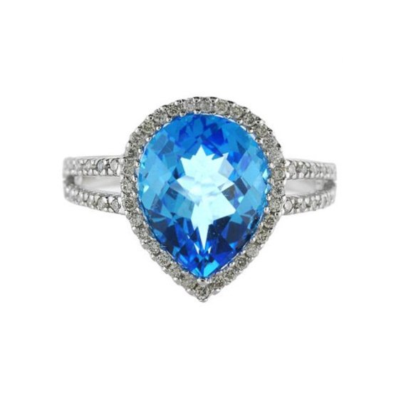Pear Shaped Blue Topaz and Diamond Cocktail Ring 14k White Gold