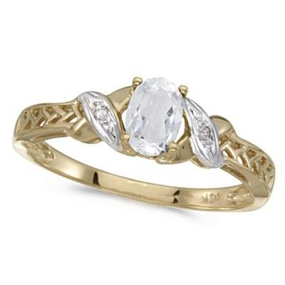White Topaz & Diamond Antique Style Ring 14K Yellow Gold (0.60ct)