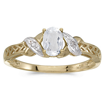 White Topaz & Diamond Antique Style Ring 14K Yellow Gold (0.60ct)