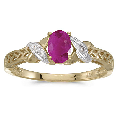 Ruby & Diamond Antique Style Ring in 14K Yellow Gold (0.60ct)