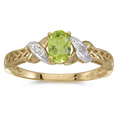Peridot & Diamond Antique Style Ring in 14K Yellow Gold (0.55ct)