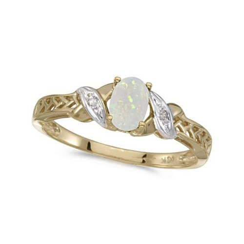 Opal & Diamond Antique Style Ring in 14K Yellow Gold (0.55ct)