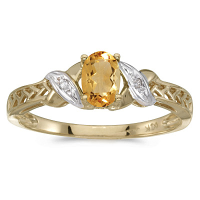 Oval Citrine & Diamond Antique Style Ring 14K Yellow Gold (0.45ct)