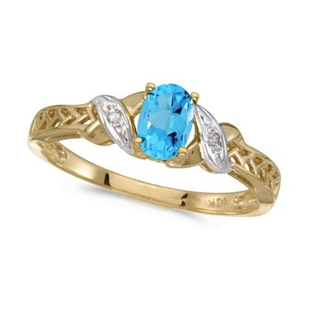 Blue Topaz & Diamond Antique Style Ring in 14K Yellow Gold (0.57ct)