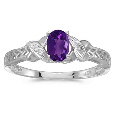 Amethyst & Diamond Antique Style Ring in 14K White Gold (0.45ct)