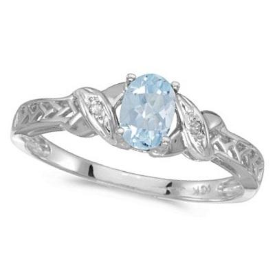 Aquamarine & Diamond Antique Style Ring in 14K White Gold (0.40ct)