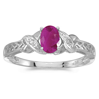 Ruby & Diamond Antique Style Ring in 14K White Gold (0.60ct)