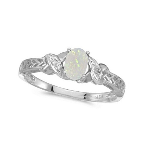 Opal & Diamond Antique Style Ring in 14K White Gold (0.55ct)