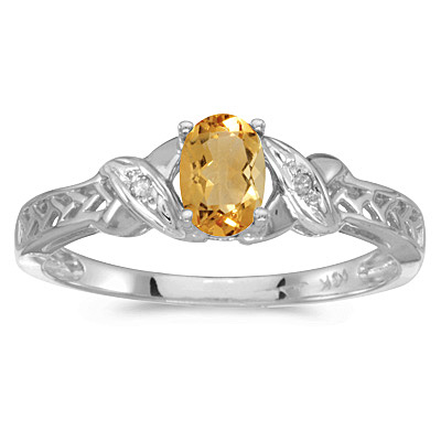 Oval Citrine & Diamond Antique Style Ring in 14K White Gold (0.45ct)