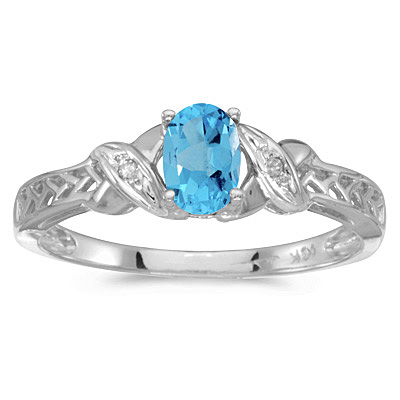 Blue Topaz & Diamond Antique Style Ring in 14K White Gold (0.57ct)