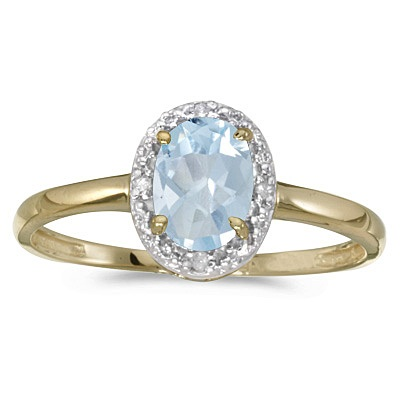 Aquamarine and Diamond Cocktail Ring in 14K Yellow Gold (0.70ct)