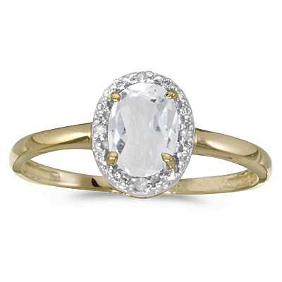 White Topaz and Diamond Cocktail Ring in 14k Yellow Gold (1.00ct)