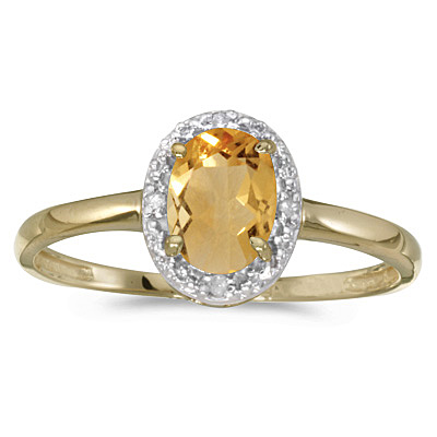Oval Citrine and Diamond Cocktail Ring in 14K Yellow Gold (0.80ct)