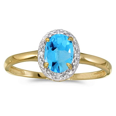 Blue Topaz and Diamond Cocktail Ring in 14K Yellow Gold (1.00ct)
