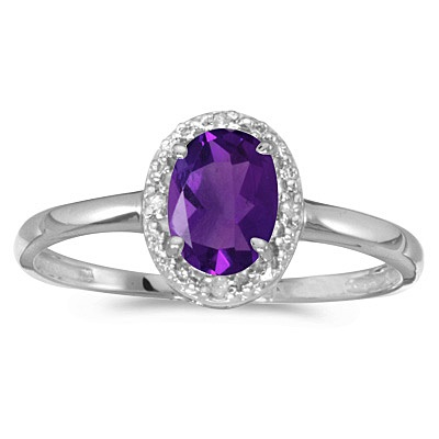 Amethyst and Diamond Cocktail Ring in 14K White Gold (0.80ct)