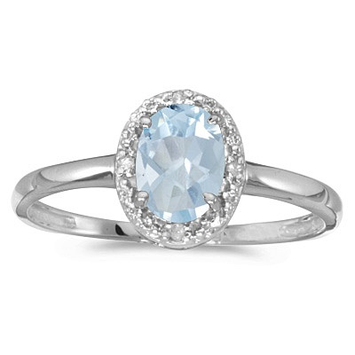 Aquamarine and Diamond Cocktail Ring in 14K White Gold (0.70ct)