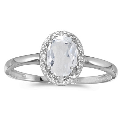White Topaz and Diamond Cocktail Ring in 14K White Gold (1.00ct)