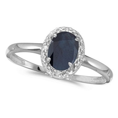 Blue Sapphire and Diamond Cocktail Ring in 14K White Gold (0.95ct)