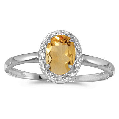 Oval Citrine and Diamond Cocktail Ring in 14K White Gold (0.80ct)