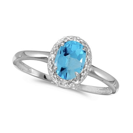 Blue Topaz and Diamond Cocktail Ring in 14K White Gold (1.00ct)