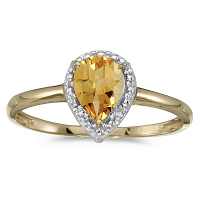 Pear Shape Citrine and Diamond Cocktail Ring 14k Yellow Gold