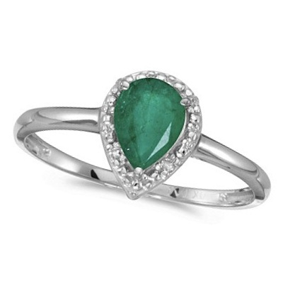 Pear Shape Emerald and Diamond Cocktail Ring 14k White Gold