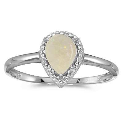 Pear Shape Opal and Diamond Cocktail Ring 14k White Gold