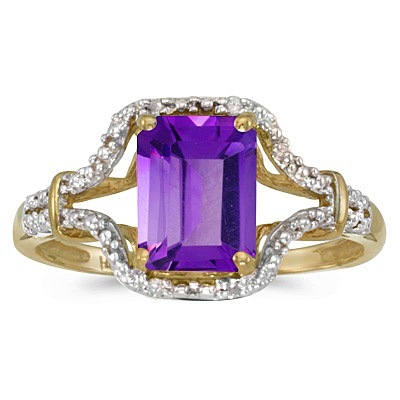 Emerald-Cut Amethyst & Diamond Cocktail Ring 14k Yellow Gold