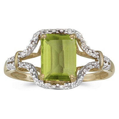 Emerald-Cut Peridot & Diamond Cocktail Ring 14k Yellow Gold
