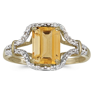 Emerald-Cut Citrine & Diamond Cocktail Ring 14k Yellow Gold