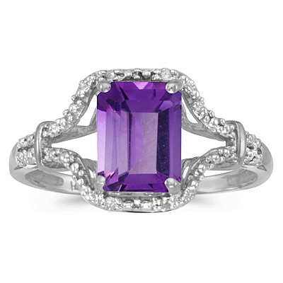 Emerald-Cut Amethyst & Diamond Cocktail Ring 14k White Gold
