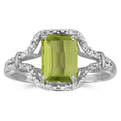 Emerald-Cut Peridot & Diamond Cocktail Ring 14k White Gold