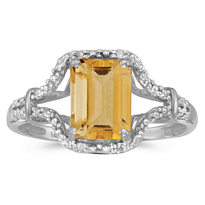 Emerald-Cut Citrine & Diamond Cocktail Ring 14k White Gold