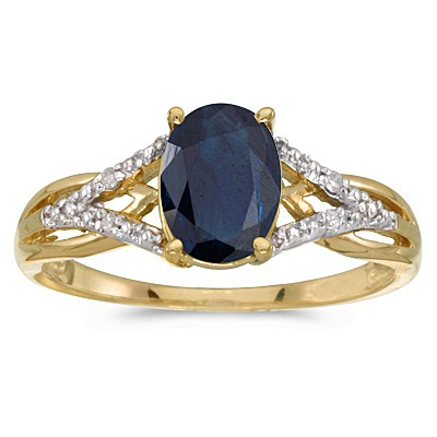 Oval Blue Sapphire and Diamond Cocktail Ring 14K Yellow Gold (1.52tcw)