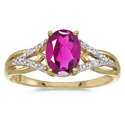 Oval Pink Topaz and Diamond Cocktail Ring 14K Yellow Gold (1.62tcw)