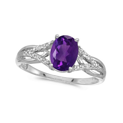 Oval Amethyst and Diamond Cocktail Ring 14K White Gold (1.20 ctw)