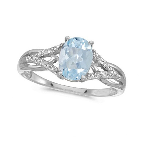 Oval Aquamarine and Diamond Cocktail Ring 14K White Gold (1.20 ctw)