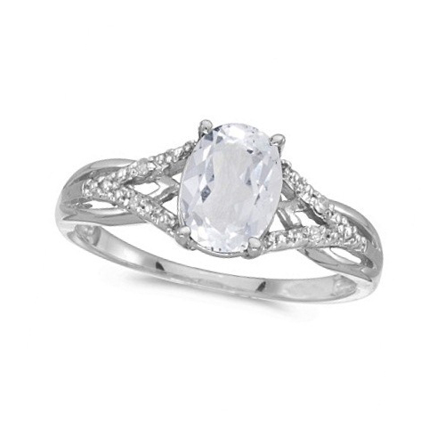 Oval White Topaz and Diamond Cocktail Ring 14K White Gold (1.62tcw)