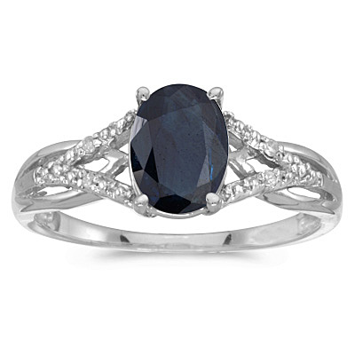 Oval Blue Sapphire and Diamond Cocktail Ring 14K White Gold (1.52tcw)