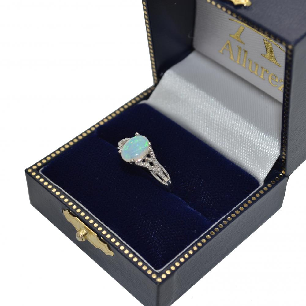 Oval Opal and Diamond Cocktail Ring 14K White Gold (0.70ct)